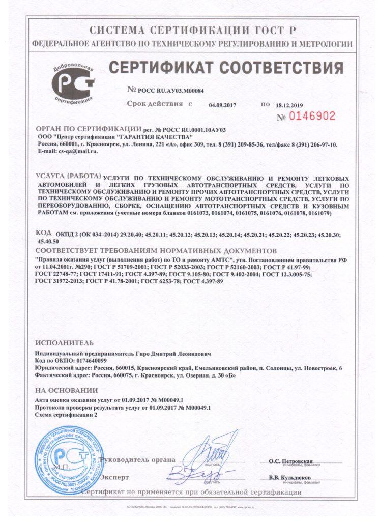 Сертификат соответствия с 04.09.2017 по 18.12.2019